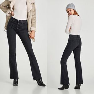 Zara High Rise Raw Hem Skinny Flare Button Up Fly